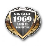 1969 Year Dated Vintage Shield Retro Vinyl Car Motorcycle Cafe Racer Helmet Car Sticker 100x90mm